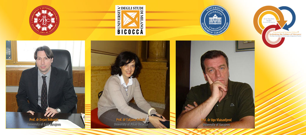 Prof. Dejan Bokonjic, University of East Sarajevo; Prof. Tanja Sekulic, University of Milan-Bicocca; Prof. Ugo Vlaisavljevic, University of Sarajevo
